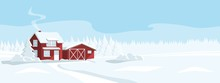 Red House In A Snowy Forest. W...