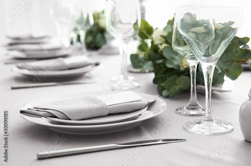 Beautiful table setting with floral decor Wallpaper Mural