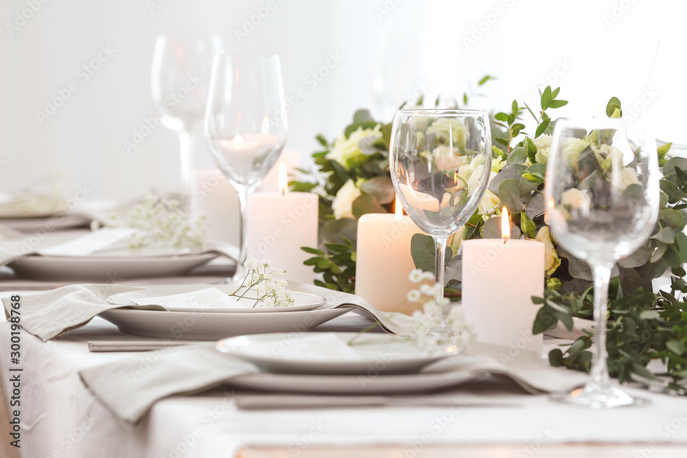 Fototapety, obrazy: Beautiful table setting with floral decor