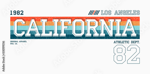 Stampa su Tela California, Los Angeles athletic typography for t-shirt
