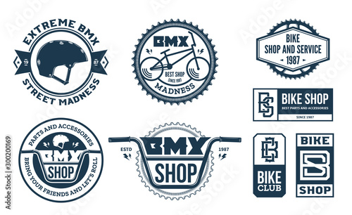 Photo Set of vector bmx bike shop, bicycle part and service logo, badges and icons