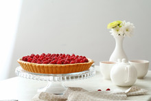 Tasty Raspberry Pie And Tea Se...