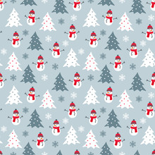 Winter Seamless Pattern With White, Grey And Red Snowman, Christmas Trees And Snowflakes. Graphic Design Element For Wrapping Paper, Prints, Scrapbooking, Simple Cartoon EPS10 Vector.