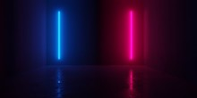 Abstract Blue And Red Glowing Neon Light Tubes In Empty Concrete Room With Shiny Reflective Floor