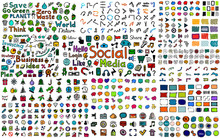 Huge Mega Collection Of Color Hand Drawn Doodle Icons - Social, Business, Web And Internet, Buttons, Frames, Nature And Ecology, Speech Bubbles, Arrows And Many Other Design Elements. Doodles Bundle.