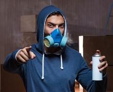 Graffiti Painter In Dark Smoke...