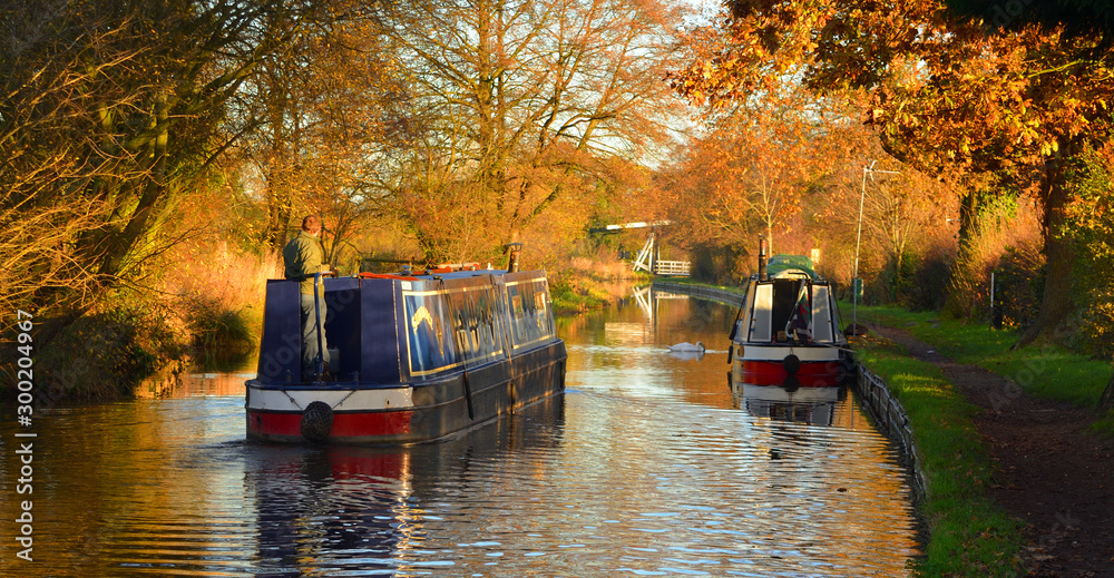 Fototapety, obrazy:  Narrow boats  on the Llangollen canal, at Wrenbry  boats and reflections in Autumn