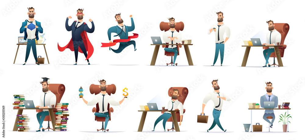 Fototapeta  Bearded charming business men in different situations and poses. Manager character design. Businessman collection.