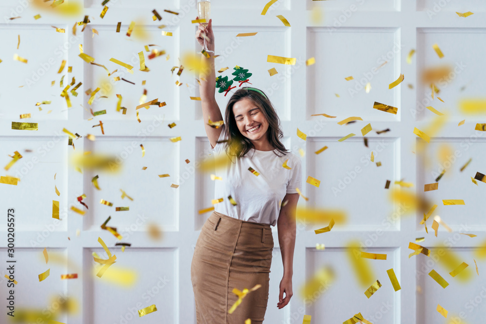 Fototapety, obrazy: Portrait of young woman with glass celebrate Christmas or New Year
