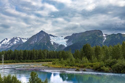 glacier on mountain reflection