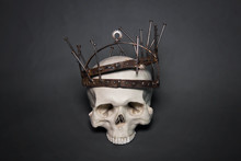 A Human Skull In A Rusty Crown...
