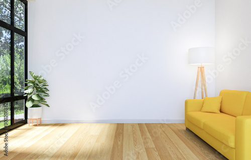 White Living Room Interior with Wooden Floor and Copy Space on Wall for Mock Up, Tableau sur Toile