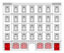 Detail Front View House Facade Building Outline Contour With Shop Street Panorama, Windows, Doors And Pillars. Vector Line Art Illustration Isolated On White