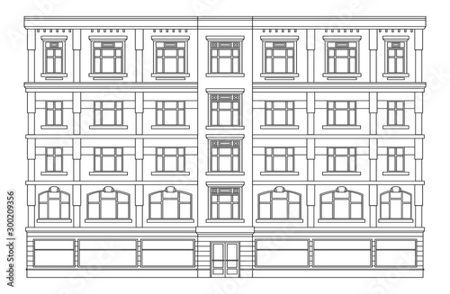 Obraz Detail front view house facade building outline contour with shop street panorama, windows, doors and pillars. Vector line art illustration isolated on white - fototapety do salonu