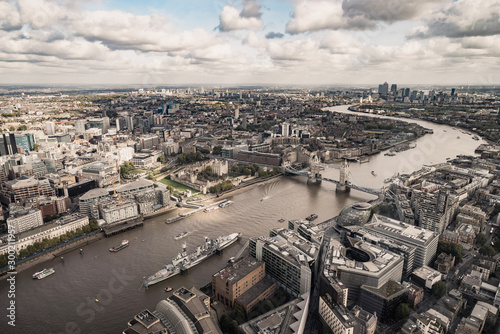 London cityscape aerial view on Thames river Wallpaper Mural