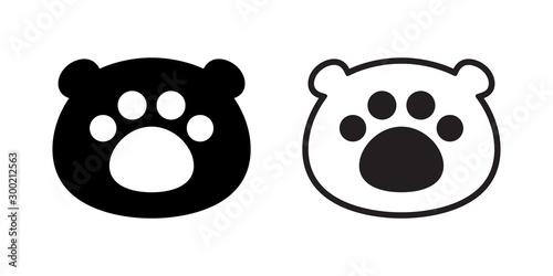 bear head polar bear paw vector footprint icon teddy cartoon character symbol illustration design