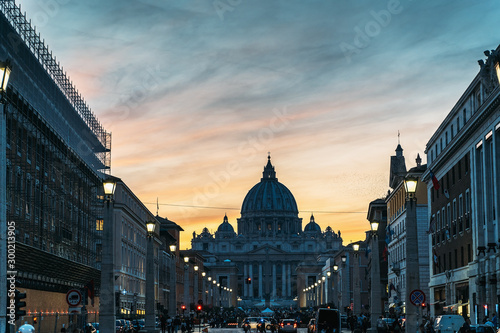Saint Peter Basilica and Street Via della Conciliazione in evening city lights at sunset, Rome, Italy Fototapet