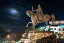 Statue Of King Erekle (Heraclius) II In Telavi At Night, Georgia.