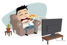 Fat Asian Businessman Eats Piz...