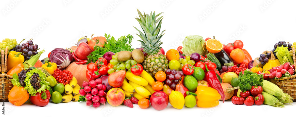 Fototapety, obrazy: Seamless horizontal pattern colorful vegetables and fruits isolated on white