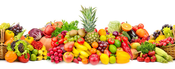 Seamless horizontal pattern colorful vegetables and fruits isolated on white
