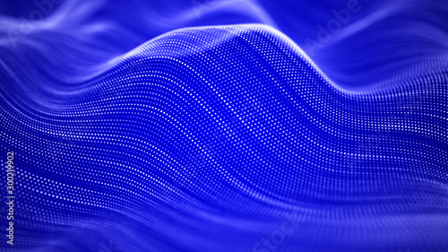 Montage in der Fensternische Violett Wave of particles. Futuristic blue dots background with a dynamic wave. Big data. 3d rendering.