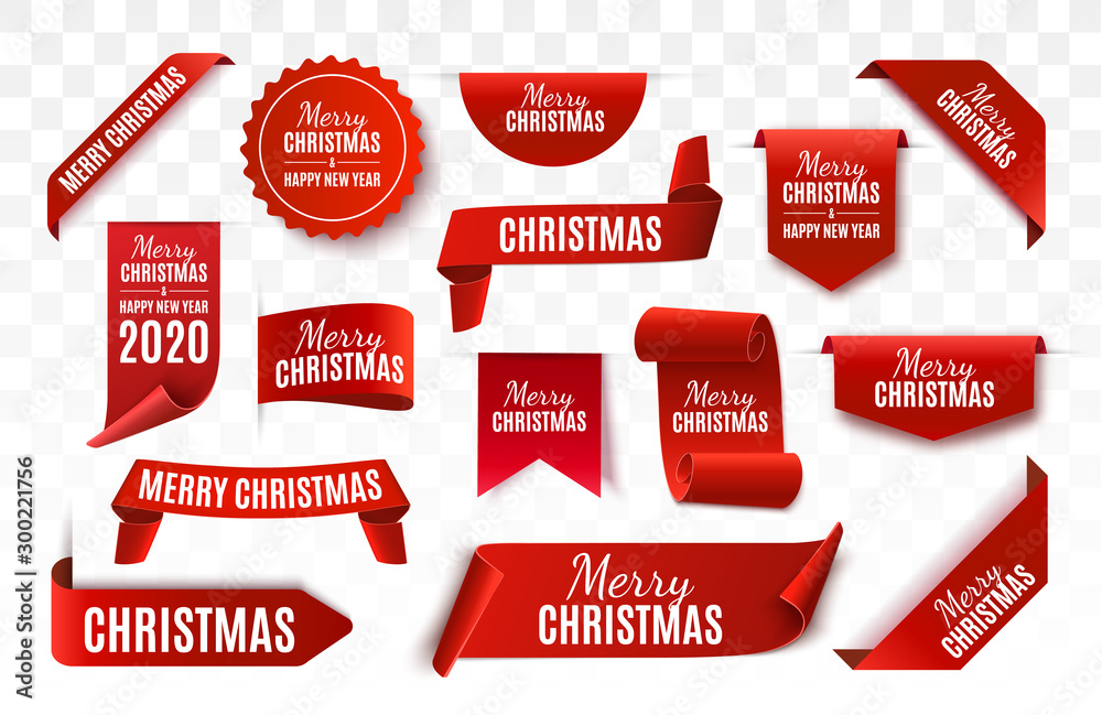 Fototapeta Christmas Tag isolated. Red vector banner. Merry Christmas and Happy New Year Label. Vector illustration