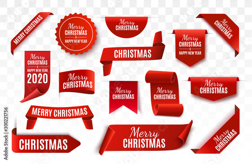 Obraz Christmas Tag isolated. Red vector banner. Merry Christmas and Happy New Year Label. Vector illustration - fototapety do salonu