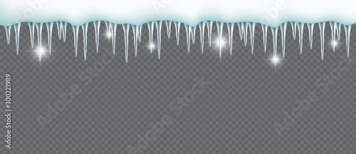Icicles Hanging From Snow Top 3d Transparent Vector Element Canvas-taulu