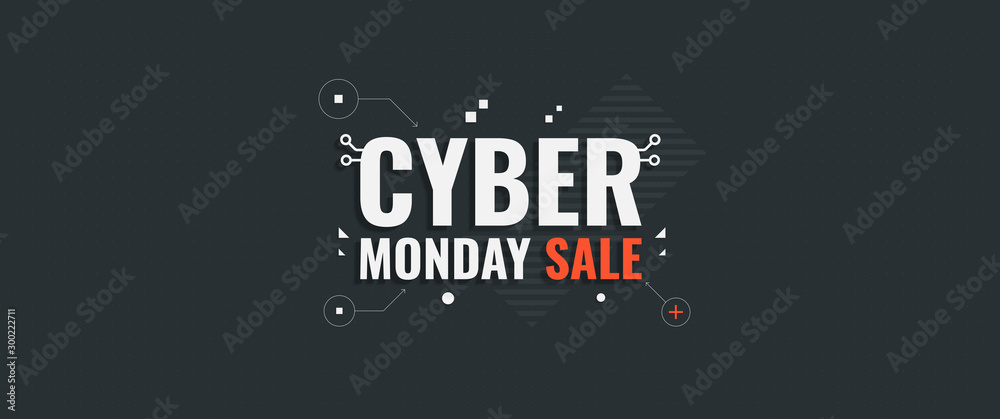 Fototapety, obrazy: Cyber monday. Vector background for Cyber Monday Sale. Sale banner with geometric shapes and text.