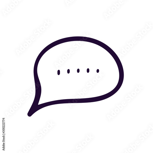 WebChat outline icon. Dialog text on white background Canvas Print
