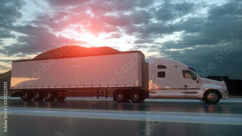 3D design Semi trailer truck with beautiful landscape Canvas Print