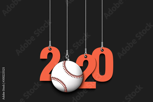 Photo 2020 New Year and baseball ball hanging on strings