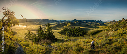 Obraz Gorkhi Terelj National Park Sunrise in Mongolia, with a campsite in the valley - Panorama - fototapety do salonu