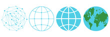 Vector Set Icons Of A Globe