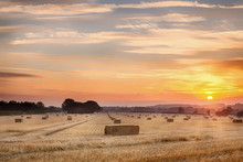 Sunset Over Hay Bales In Norfolk