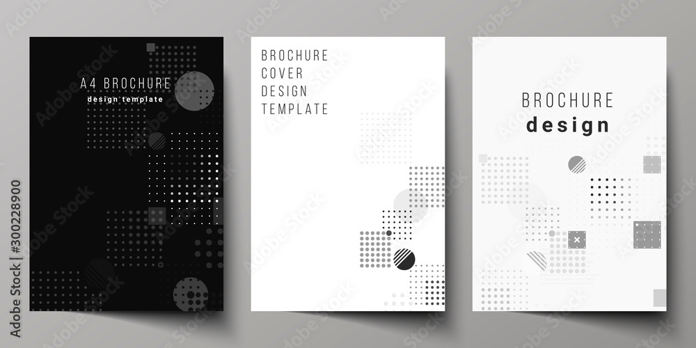 Fototapety, obrazy: The vector layout of A4 format modern cover mockups design templates for brochure, magazine, flyer, booklet, annual report. Abstract vector background with fluid geometric shapes.