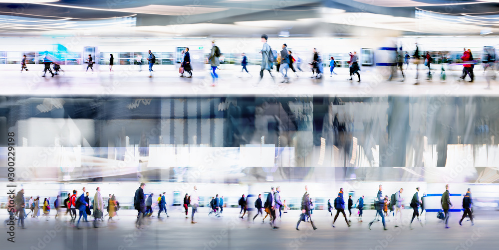 Fototapety, obrazy: Lots of people walking on the first and second level of the transport platforms, tunnel, airport or train station. Wide panoramic view, computer generated interior.