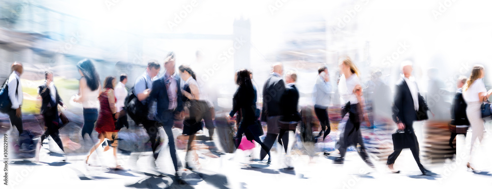 Fototapety, obrazy: Walking people blur. Lots of people walking in the City of London. Wide panoramic view of people crossing the road.