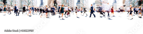 Fototapeta Walking people blur. Lots of people walking in the City of London. Wide panoramic view of people crossing the road.  obraz