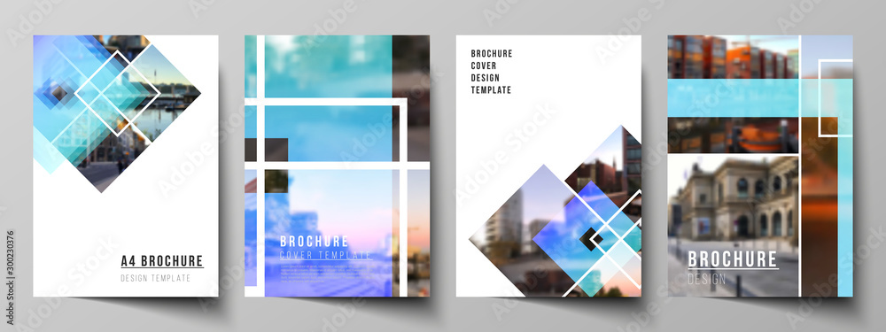 Fototapeta The vector layout of A4 format modern cover mockups design templates for brochure, magazine, flyer, booklet, annual report. Creative trendy style mockups, blue color trendy design backgrounds.