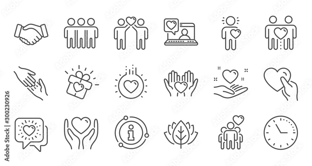 Fototapeta Friendship and love line icons. Interaction, Mutual understanding and assistance business. Trust handshake, social responsibility icons. Linear set. Quality line set. Vector