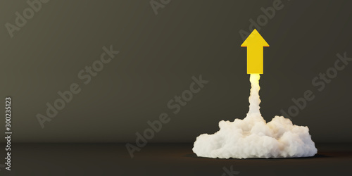 Foto Arrows being launched, success and growth concepts, original 3d rendering