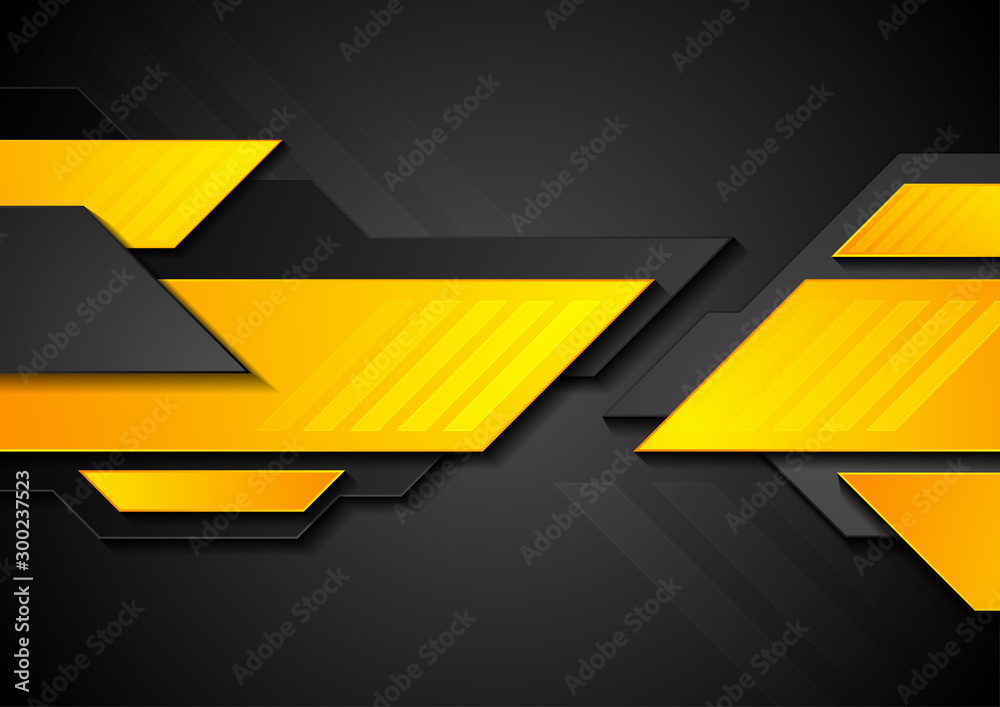 Fototapety, obrazy: Bright yellow and black technology abstract background. Vector sci-fi design