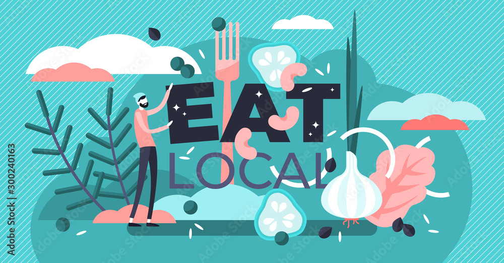 Fototapety, obrazy: Eat local vector illustration. Flat tiny encouragement sign persons concept