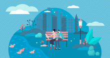 Couple In Park Vector Illustra...