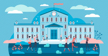 University Vector Illustration. Tiny Academical Building Persons Concept.