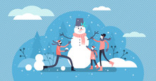 Family Winter Fun Vector Illustration. Flat Tiny Snowman Persons Concept.
