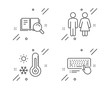 Restroom, Weather thermometer and Search book line icons set. Computer keyboard sign. Wc toilet, Temperature, Online education. Pc device. Business set. Line restroom outline icon. Vector