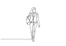 Continuous One Line Drawing Of College Girl Walking Vector Minimalism. Young Woman With Bag Walk On The Street.